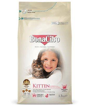 BONACIBO Kitten Chicken & Rice With Anchovy 1.5 kg available at allaboutpets.pk