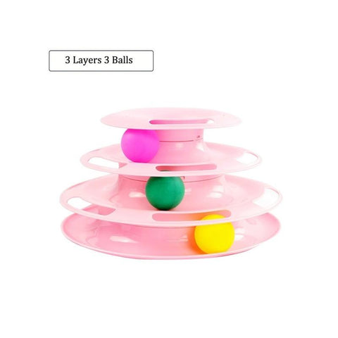 Image of Cat Toy 3-level Tower of Tracks interactive toy pink color available in pakistan at allaboutpets.pk