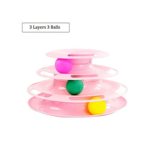 Cat Toy 3-level Tower of Tracks interactive toy pink color available in pakistan at allaboutpets.pk