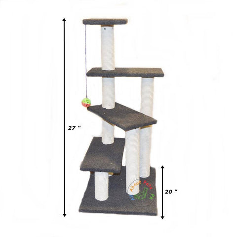 Cat Scratch Post 4 Level spiral Tree With Tops & Toy Ball available in Pakistan at allaboutpets.pk