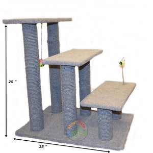 Cat Scratch Post Tree 3 Level With Spring Toy & Ball available in Pakistan at allaboutpets.pk