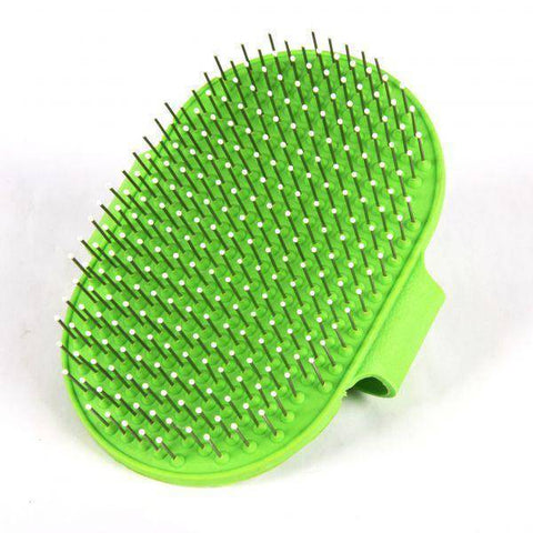 Image of Pet Slicker Brush Oval green color for cats and dogs available at allaboutpets.pk in pakistan.