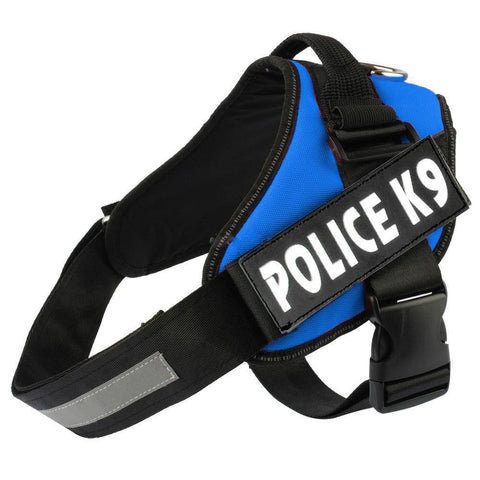 Image of Blue Police K9 Harness with efficient reflective strip blue color available at allaboutpets.pk in pakistan.