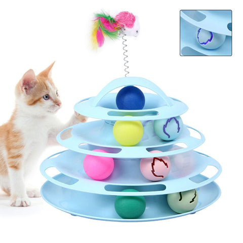 Cat Toys 4 Level Towers Tracks Roller with Balls and Interactive Teaser Mouse,Interactive Kitten Fun Mental Physical Exercise Puzzle Toys available at allaboutpets.pk in pakistan