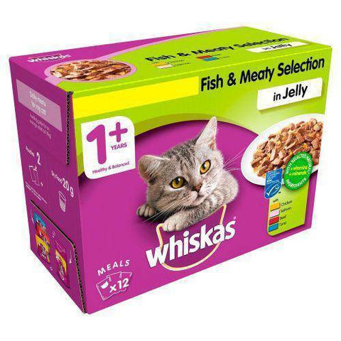 Whiskas Jelly Pouch Fish & Meaty Selection 100g available online in pakistan at allaboutpets.pk