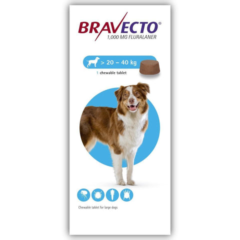Bravecto 1000mg Chewable Tablets for Large Dogs available at allaboutpets.pk in Pakistan