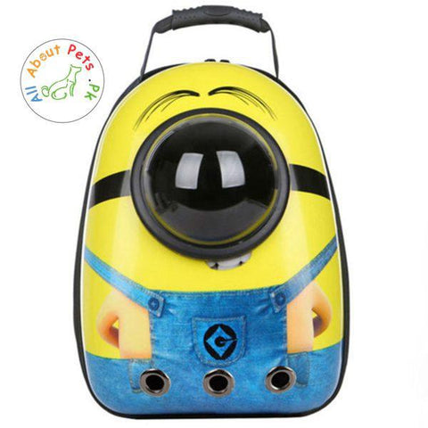 Pet Travel Bag Capsule Carrier Backpack minion available at allaboutpet.pk in Pakistan