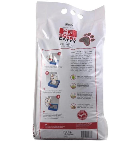 Image of Remu Smart Catty Clumping Cat Litter 7.5 KG, Extra Absorption, Odor Control, Improved Clumping, Dust Free available at allaboutpets.pk in pakistan.
