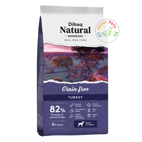 DIBAQ Natural Moments Grain Free turkey dog food available at allaboutpets.pk in Pakistan