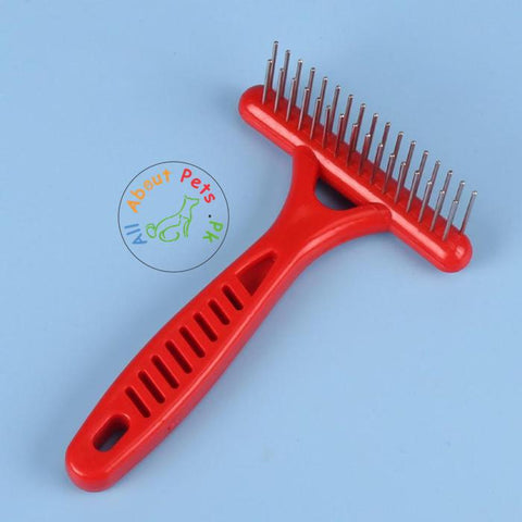 Pet Rake Comb 2 Rows Stainless Steel Teeth Anti-Static