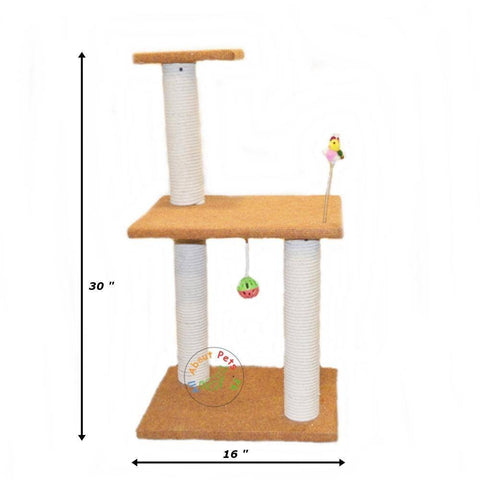 Cat Scratch Post Tree With 3 Poles & Side Top With Toys available in Pakistan at allaboutpetspk