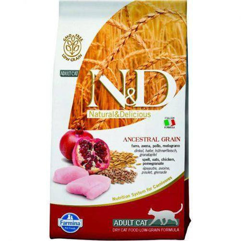 Farmina N&D Low Grain Feline Chicken & Pomigranate Adult 1.5kg and 5kg available at allaboutpets.pk in pakistan.