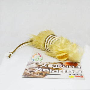 Cat Toy Mouse With Fur & Rope beige color available in Pakistan at allaboutpets.pk