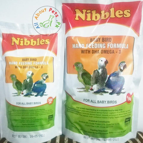 Nibbles Baby Bird Hand Feeding Formula For All Birds 500g and 1kg available at allaboutpets.pk in Pakistan