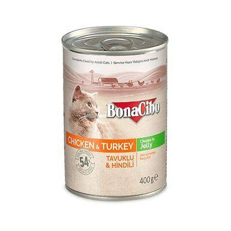 BONACIBO Canned Cat Food Chicken & Turkey 400g available at allaboutpets.pk