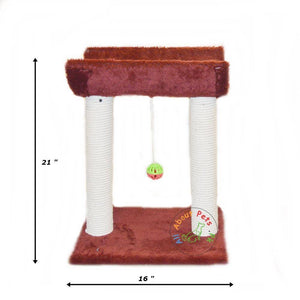 Cat Scratch Post plush maroon With Curve Top & Toy Ball With Bell available in pakistan