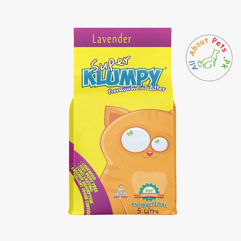 Super Klumpy Cat Litter 5L Lavender Scented available at allaboutpets.pk in pakistan