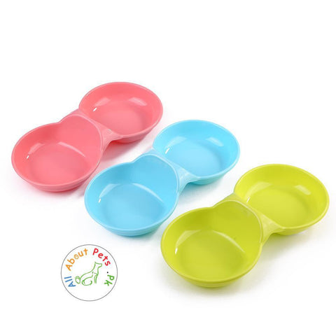 Image of Dog Cat Feeding Double Bowl plastic, Puppy Food Water Feeder, Pets Drinking Feeding Dishes pink, blue and green color available at allaboutpets.pk in Pakistan