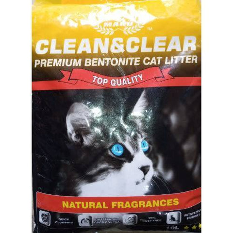 Clean And Clear Premium Bentonite Cat Litter Lemon Fragrance 10L available at allaboutpets.pk in pakistan