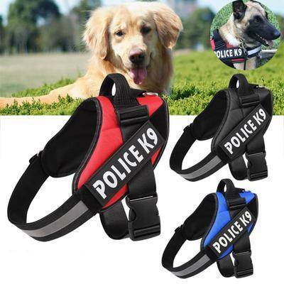 Image of Red Police K9 Harness with efficient reflective strip red color, black color and blue color available at allaboutpets.pk in pakistan.