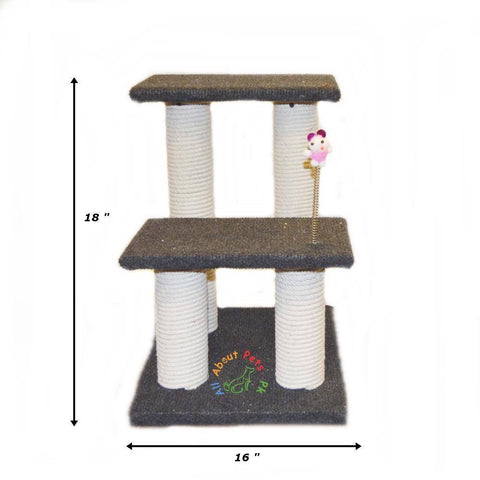 Cat scratch post tree with 4 scratching poles, 2 resting tops and toy with spring available in Pakistan at allaboutpets.pk
