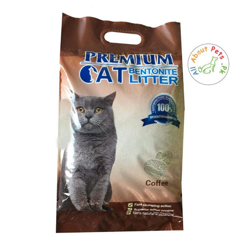 Premium Bentonite Cat Litter Coffee Scented 99% Dust Free available at allaboutpets.pk in Pakistan