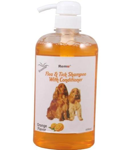 Image of Remu Dog Groomer Shampoo orange Conditioner 600ml, Smooth & Shiny Coat, Flea & Tick Control available at allaboutpets.pk in pakistan.