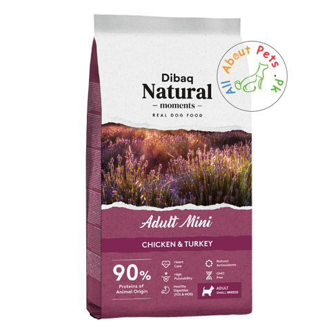 DIBAQ natural moments adult mini dog food available at allaboutpets.pk in Pakistan