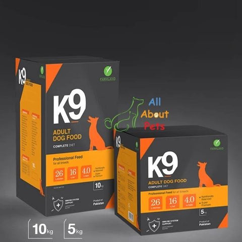 K9 Adult Dog Food 5kg & 10kg, german shepherd food, rottweiler food, pug food, shihtzu food, product of farmland available at allaboutpets.pk  in pakistan.