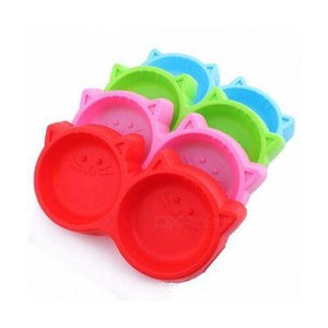 Cat Face Plastic Pet feeding Double Bowl red, blue, pink and green colors available at allaboutpets.pk