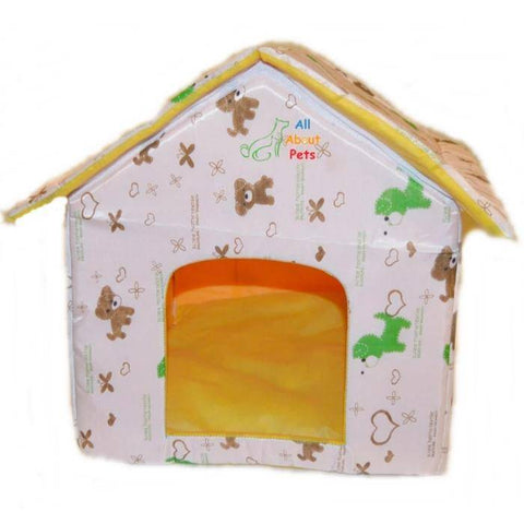 Image of Beautiful Soft Cat House With Bears & Hearts, soft cat bed available at allaboutpets.pk in pakistan.