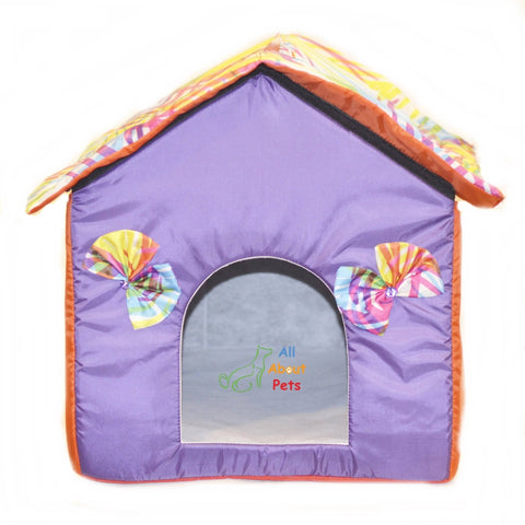 Beautiful Soft Cat House With Bows, soft cat bed, purplecolor cat house available online at allaboutpets.pk in pakistan.
