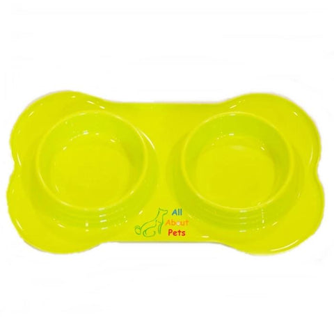 Image of Bone Shaped dog and cat feeding Double Bowl green color Large size available online at allaboutpets.pk in pakistan.