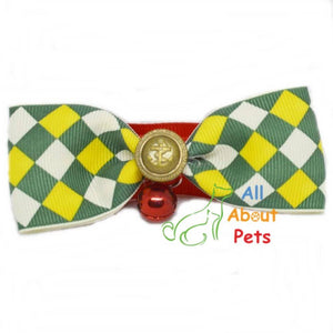 Bow Tie Collar For Cats & Small Dogs, yellow, white and green check available online at allaboutpets.pk in pakistan.