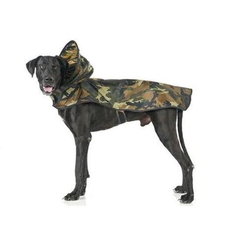 Image of Camouflage Dog Rain Coat With Reflective Strip, This cool coat features: - Durable waterproof material - Light reflecting piping around the edges - Pocket for the poo bags - Comfortable hood - Small opening on the back for leash clasp - Breathable mesh lining Care instructions: - Wash gently - Does not fade after washing available at allaboutpets.pk in pakistan