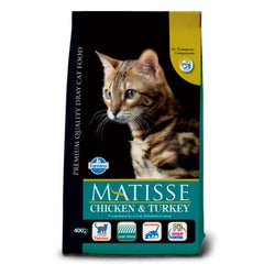 Farmina Matisse Chicken & Turkey cat food 400g, 1.5kg and 10kg available at allaboutpets.pk in pakistan.