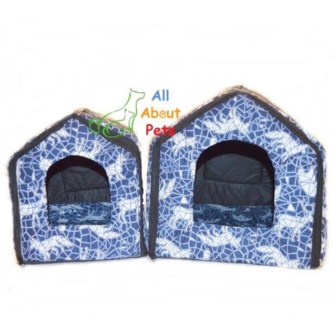 Cat House With Wild Animal Print, blue cat house, soft cat bed available online at allaboutpets.pk in pakistan.