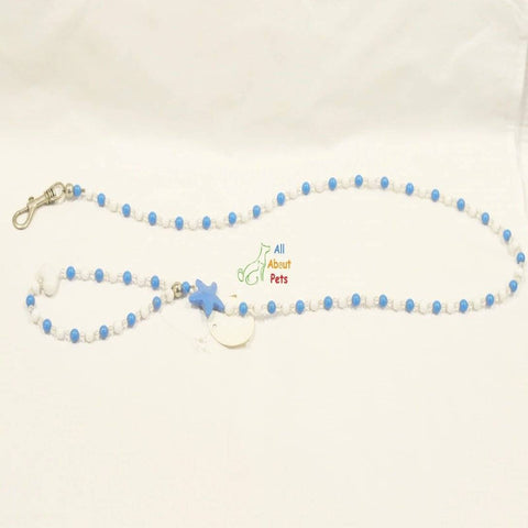 Image of Luxury Pearls Pet Dog Chain Leash blue color for Small Dogs & Cats available at allaboutpets.pk  in pakistan.
