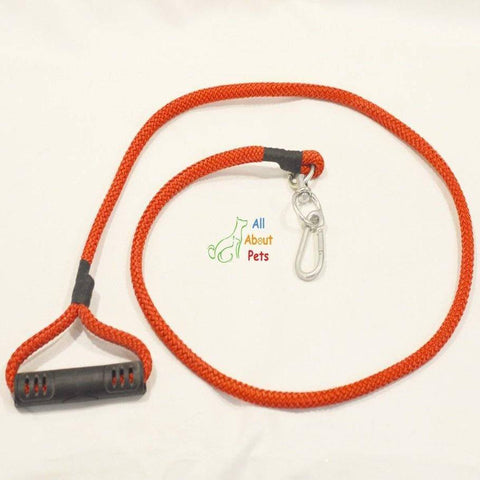 "Image of Dog nylon Leash Rope - 12mm with grip - 58"", nylon dog leash red color with handle available at allaboutpets.pk in pakistan."