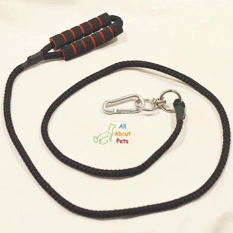 "Image of Dog Leash Rope black 9mm with soft foam grip 58""  available at allaboutpets.pk in pakistan."
