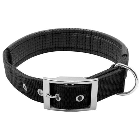 Image of Nylon Soft Liner Padded Dog Collar black color available at allaboutpets.pk in pakistan.