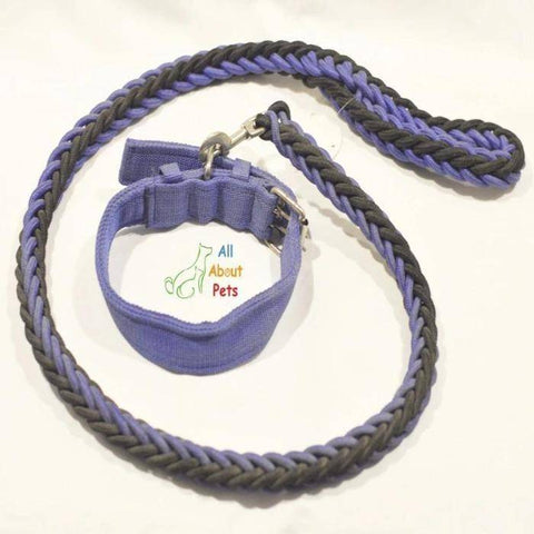 Image of Nylon Dog Collar And Leash Set for dogs black & blue available at allaboutpets.pk in pakistan.