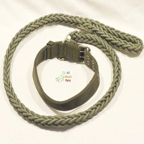 Image of Nylon Dog Collar And Leash Set for dogs army green available at allaboutpets.pk in pakistan.