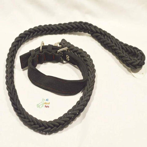Image of Nylon Dog Collar And Leash Set for dogs black color available at allaboutpets.pk in pakistan.