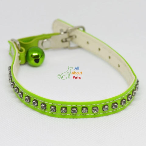 Image of Diamante Studded Collars For Small Dogs & Cats, cat collar, puppy collar, green pet collar available at allaboutpets.pk in pakistan.
