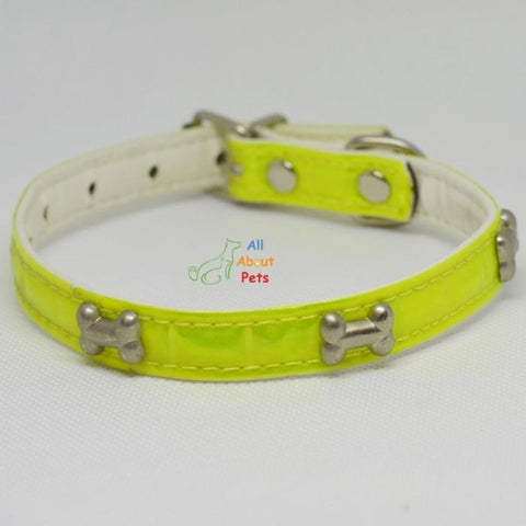 Image of bone shape Studded Reflective Collars for Small Dogs green and yellow color available at allaboutpets.pk in pakistan.
