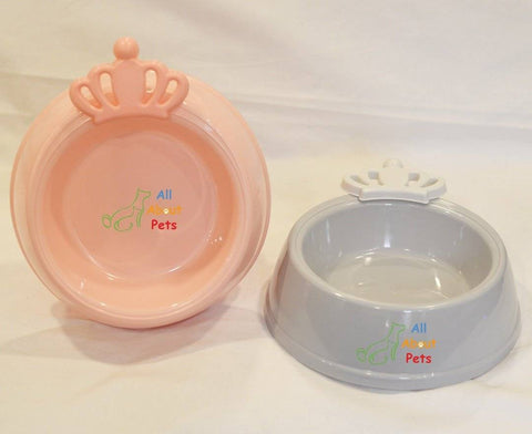 Image of king and queen shape pink color pet feeding bowl, grey color cat feeding bowl available at allaboutpets.pk in pakistan.