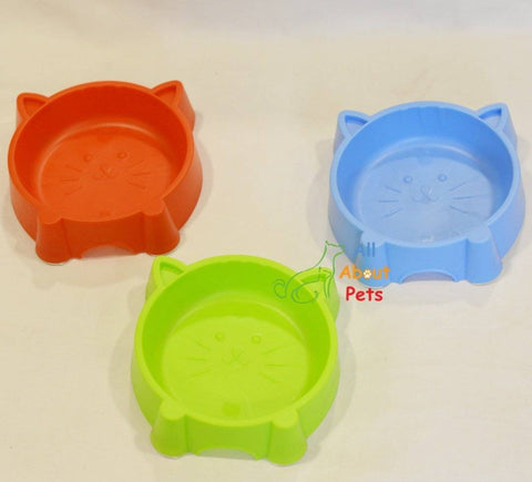 Image of Cat Face Feeding Bowl red color, dog feeding bowl blue color, pet feeding bowl available online at allaboutpets.pk in pakistan.