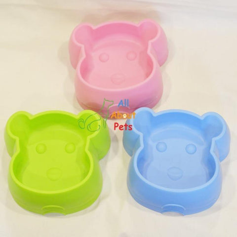 Image of cat feeding and water plastic bowl Bear Face green, pink and blue colors available online at  allaboutpets.pk in pakistan.