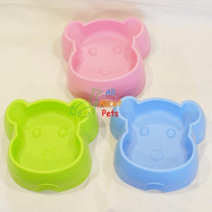 cat feeding and water plastic bowl Bear Face green, pink and blue colors available online at  allaboutpets.pk in pakistan.